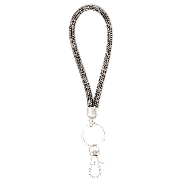 Round Wristlet Key Chain - Grey