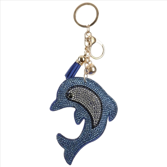Blue Dolphin Puffy Tassel Key Chain