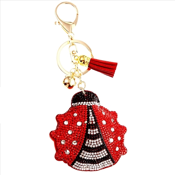 Lady Bug Puffy Tassel Key Chain