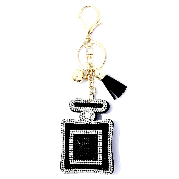 Perfume Bottle Puffy Tassel Key Chain
