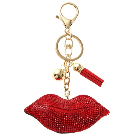 Lips Puffy Tassel Key Chain