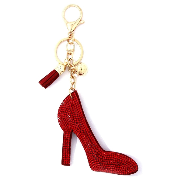 Red Heel Puffy Tassel Key Chain