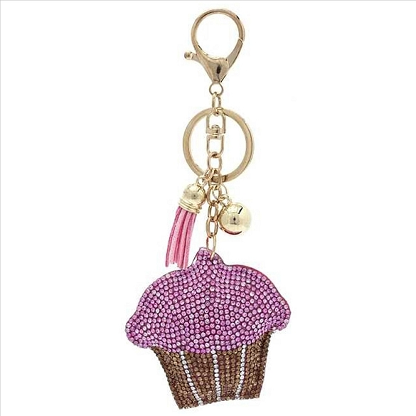 Cupcake Puffy Tassel Key Chain