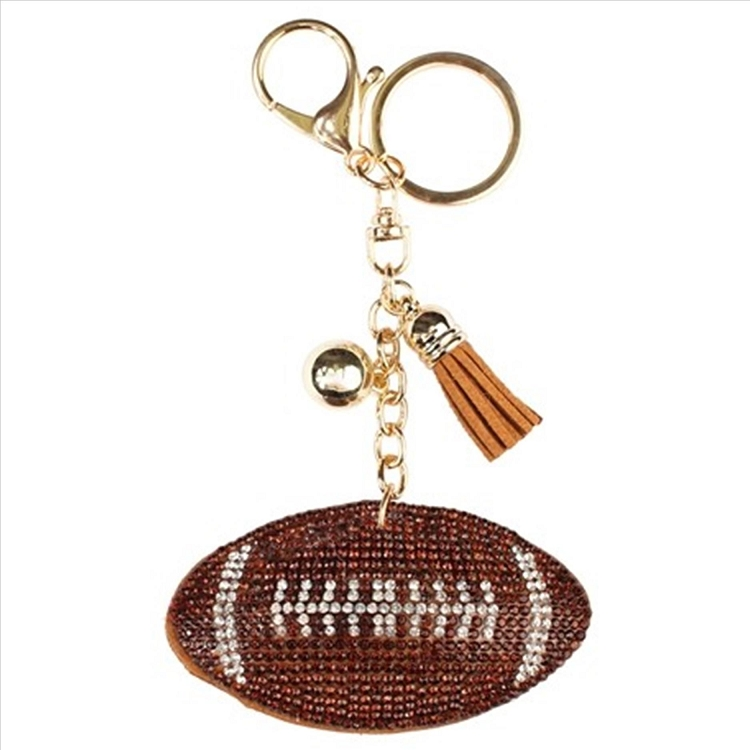 Rhinestone Football Puffy Tassel Key Chain