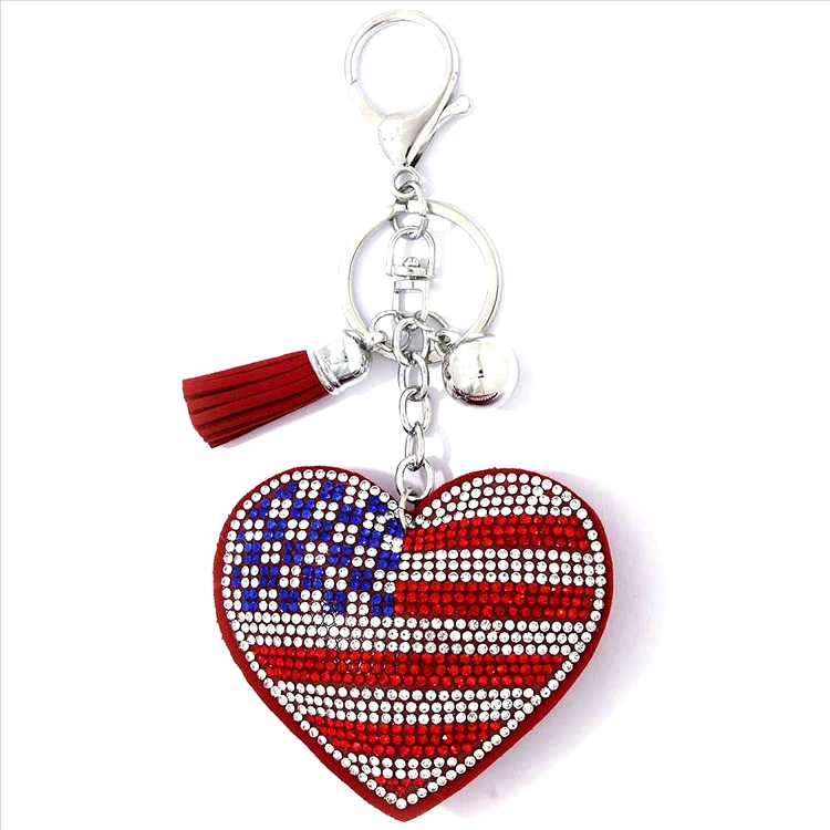 American Flag Heart Puffy Tassel Key Chain