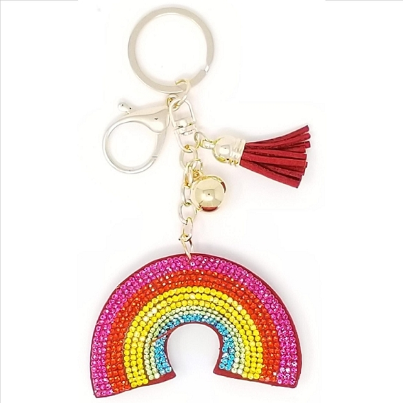 Rainbow Puffy Tassel Key Chain