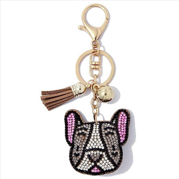 French Bulldog Puffy Tassel Key Chain