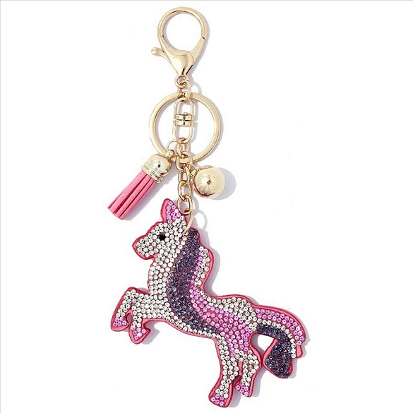 Amazing Unicorn Puffy Tassel Key Chain