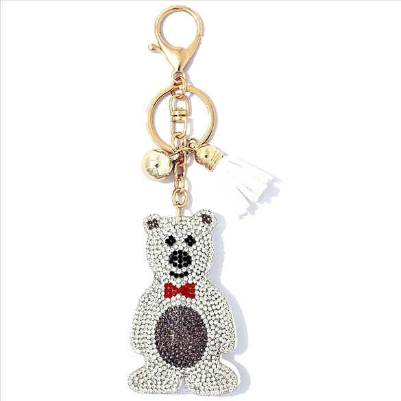 Polar Bear Puffy Tassel Key Chain