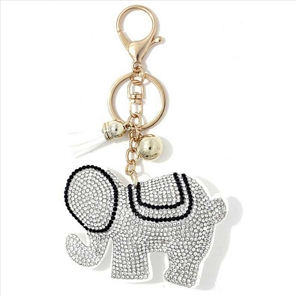 Sparkling Elephant Puffy Tassel Key Chain
