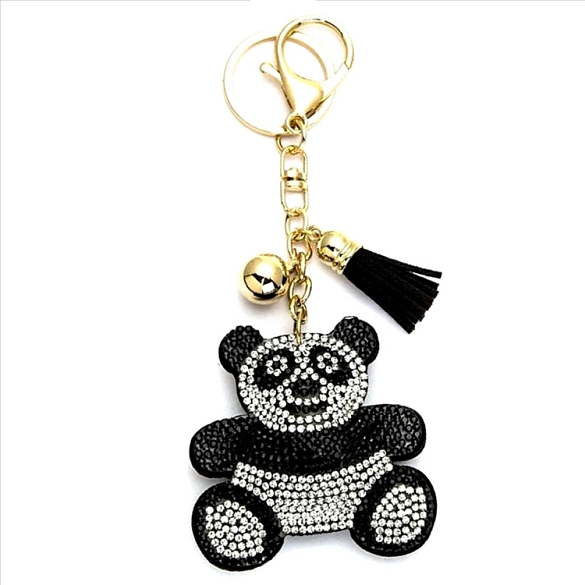 Happy Panda Puffy Tassel Key Chain
