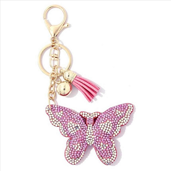 Pink Butterfly Puffy Tassel Key Chain