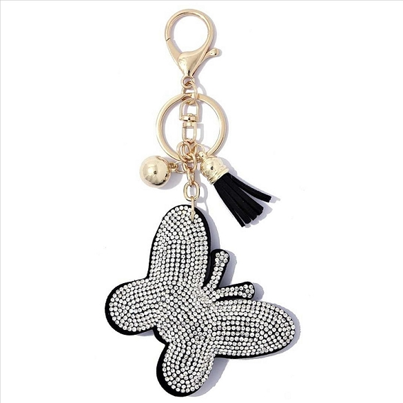 Butterfly Puffy Tassel Key Chain