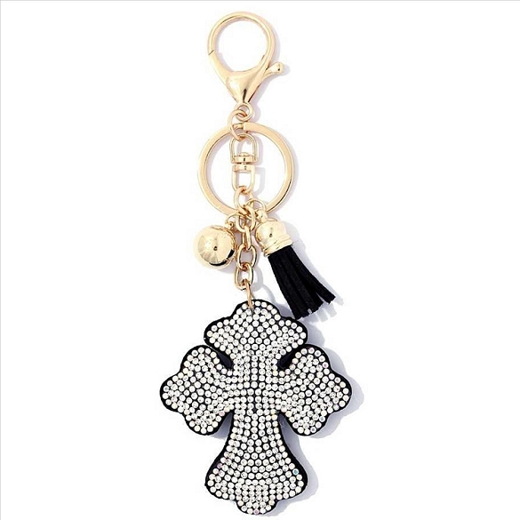 Cross Puffy Tassel Key Chain