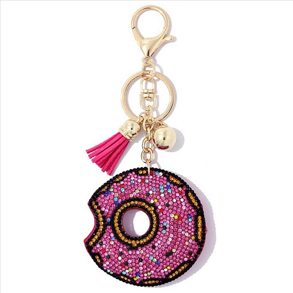 Pink Donut Puffy Tassel Key Chain