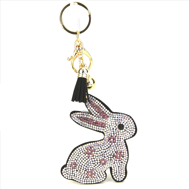 Bunny Rabbit Puffy Tassel Key Chain