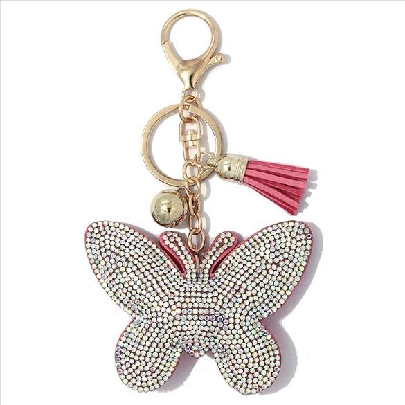 Silver and Pink Butterfly Puffy Tassel Key Chain