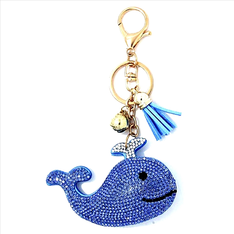 Blue Whale Puffy Tassel Key Chain