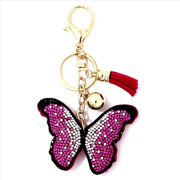 Pink Sparkling Butterfly Puffy Tassel Key Chain