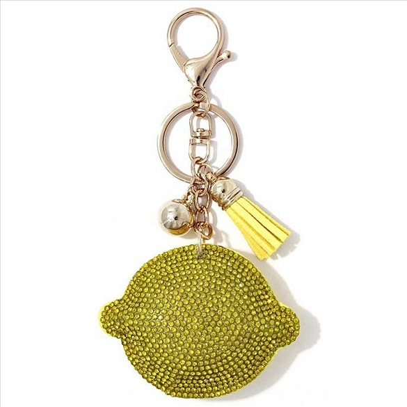 Lemon Puffy Tassel Key Chain