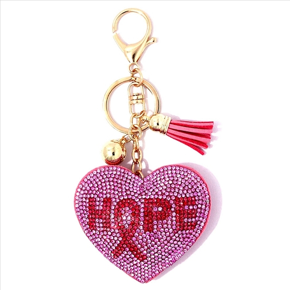 Cancer Awareness Hope Puffy Tassel Key Chain