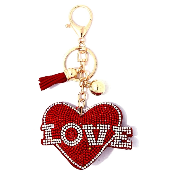Heart / Love Puffy Tassel Key Chain
