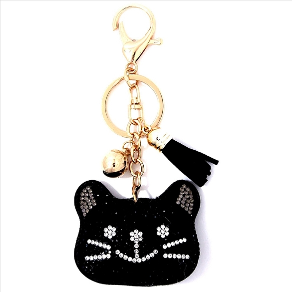 Cat Face Puffy Tassel Key Chain