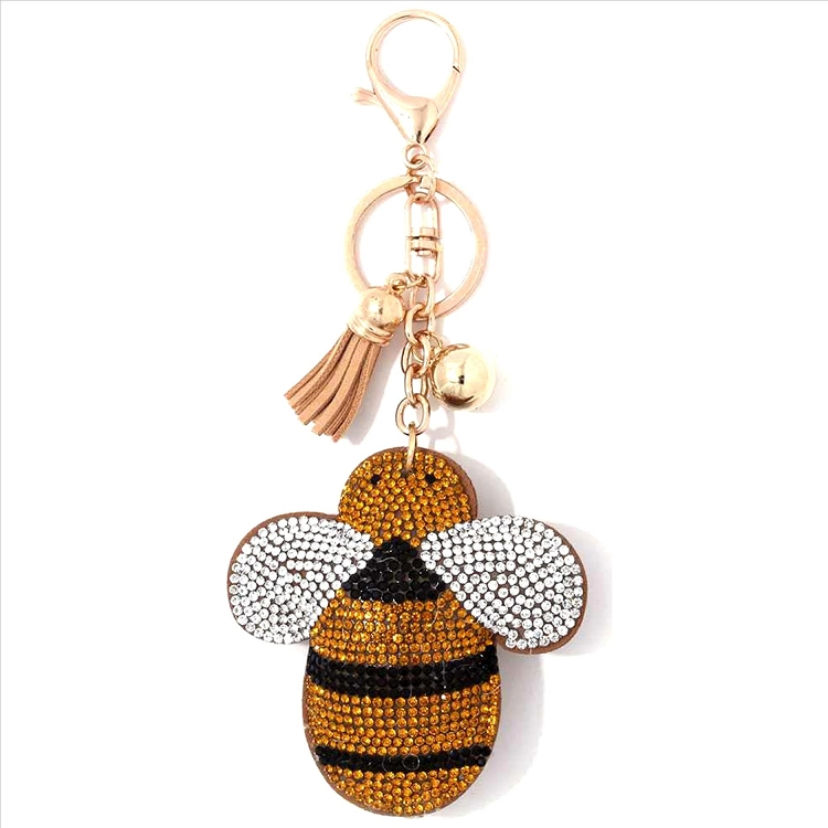 Bumble Bee Puffy Tassel Key Chain