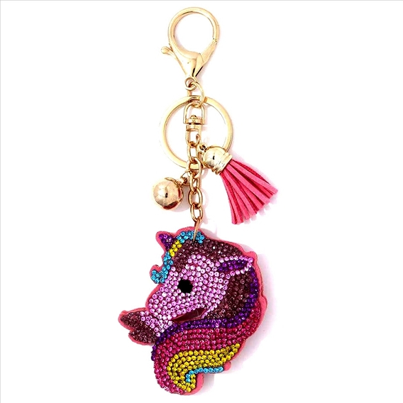 Colorful Unicorn Puffy Tassel Key Chain
