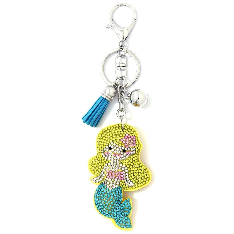 Mermaid Puffy Tassel Key Chain