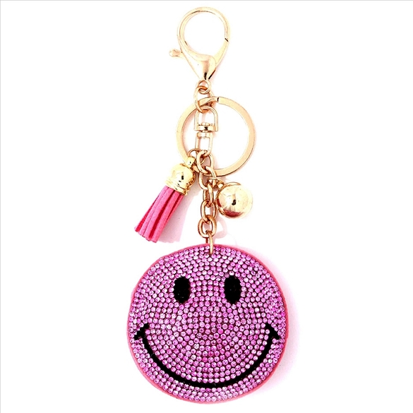 Happy Face Puffy Tassel Key Chain