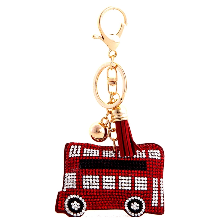 School Bus Puffy Tassel Key Chain