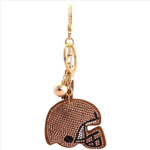 Football Helmet Puffy Tassel Key Chain - Bronze