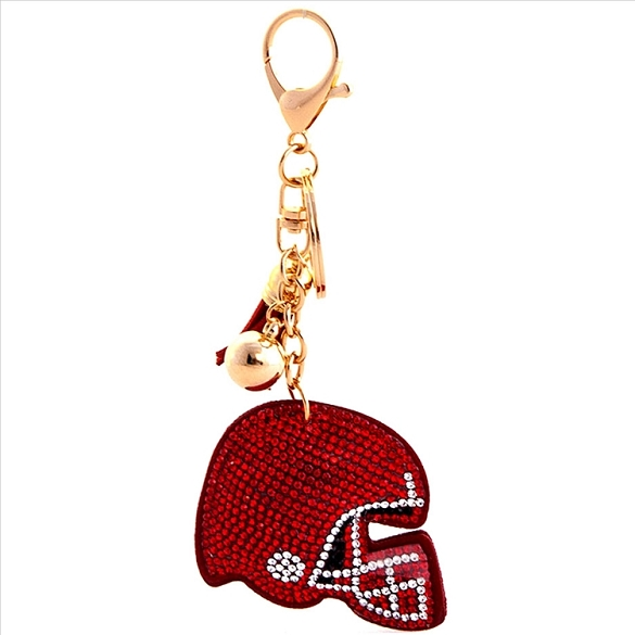 Football Helmet Puffy Tassel Key Chain - Red
