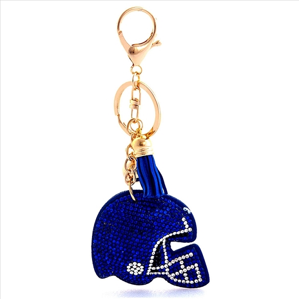 Football Helmet Puffy Tassel Key Chain - Blue
