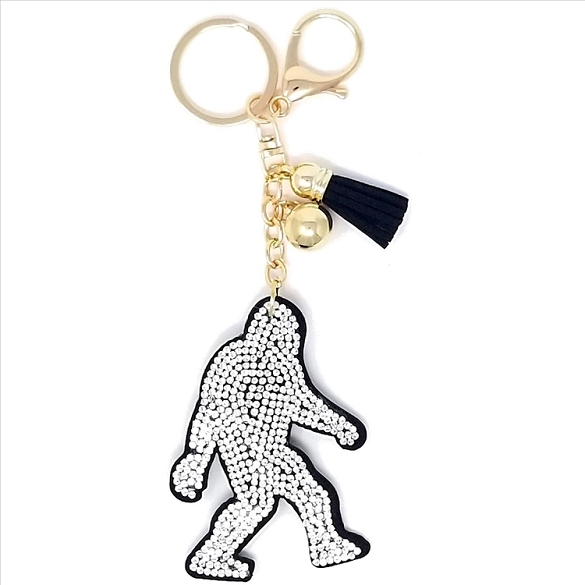 Big Foot Puffy Tassel Key Chain - Silver