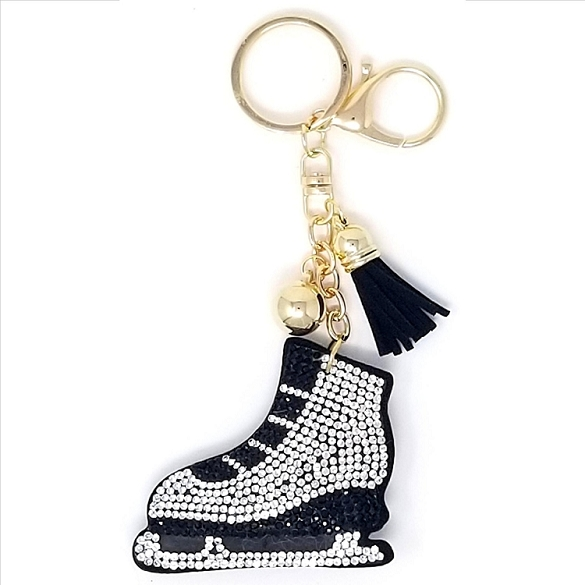 Ice Skate Puffy Tassel Key Chain