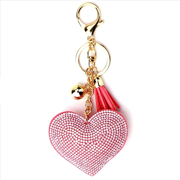 Pink Heart Puffy Tassel Key Chain