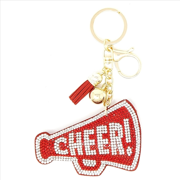 Cheer Puffy Tassel Key Chain - Red
