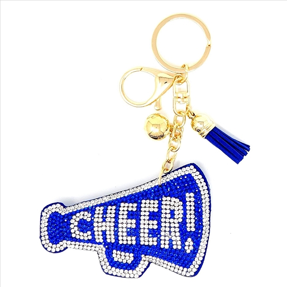 Cheer Puffy Tassel Key Chain - Blue
