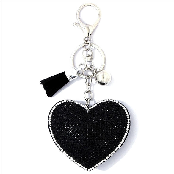 Black Heart Puffy Tassel Key Chain