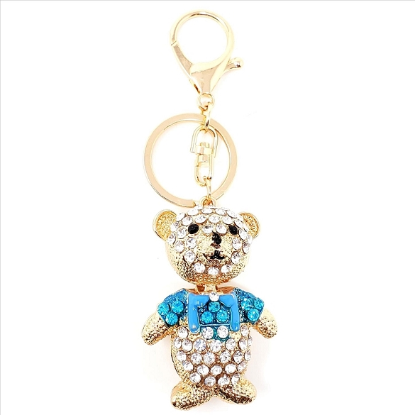 Crystal Bear with Blue Shirt Key Chain / Purse Charm
