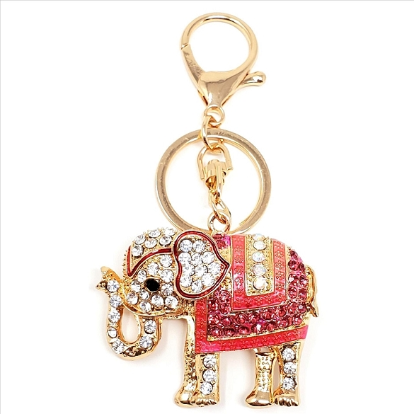 Crystal Elephant with Pink Blanket Key Chain / Purse Charm