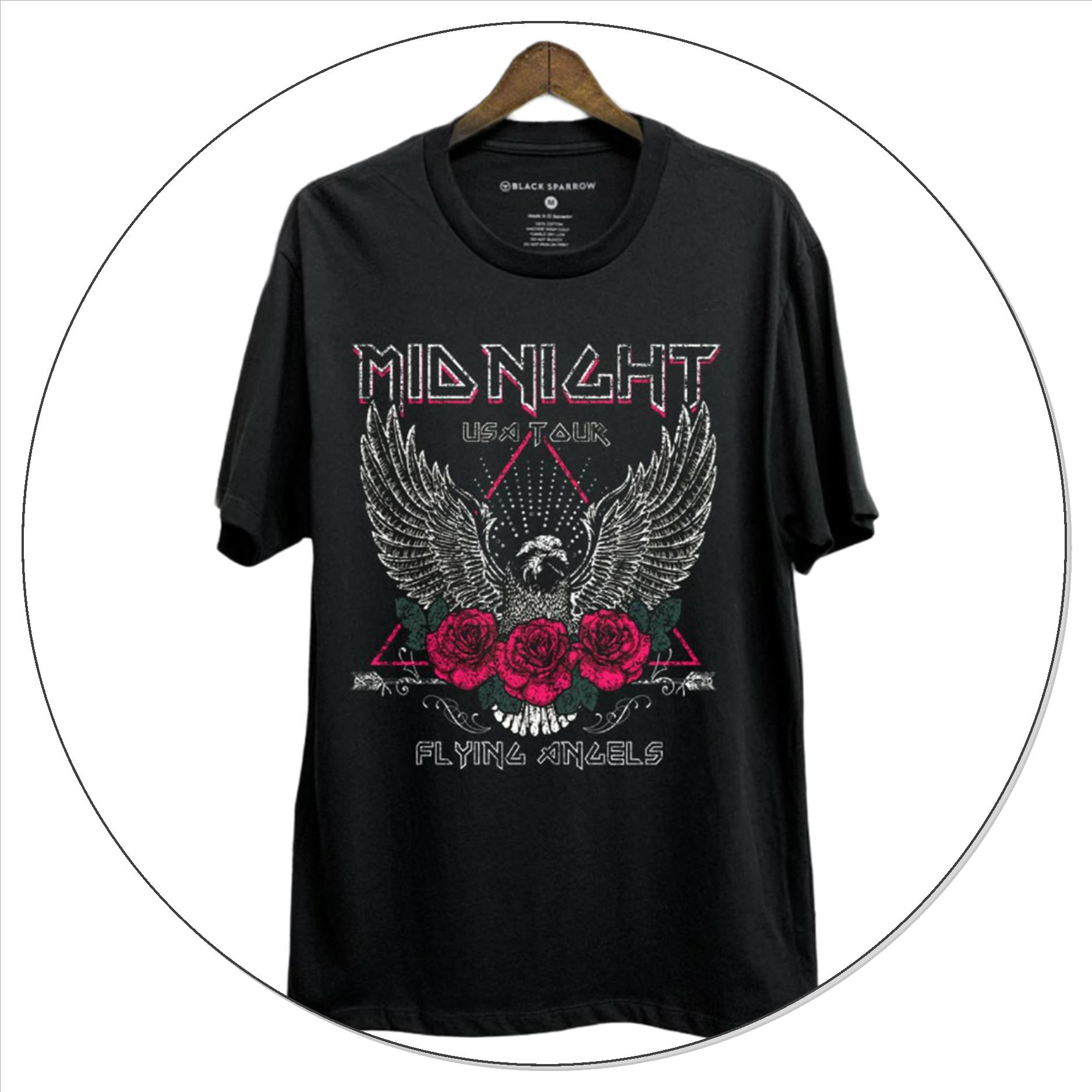 Midnight USA Tour Short Sleeve Graphic Top - Black