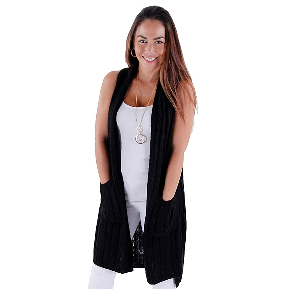 Sweater Vest with Pockets - Black