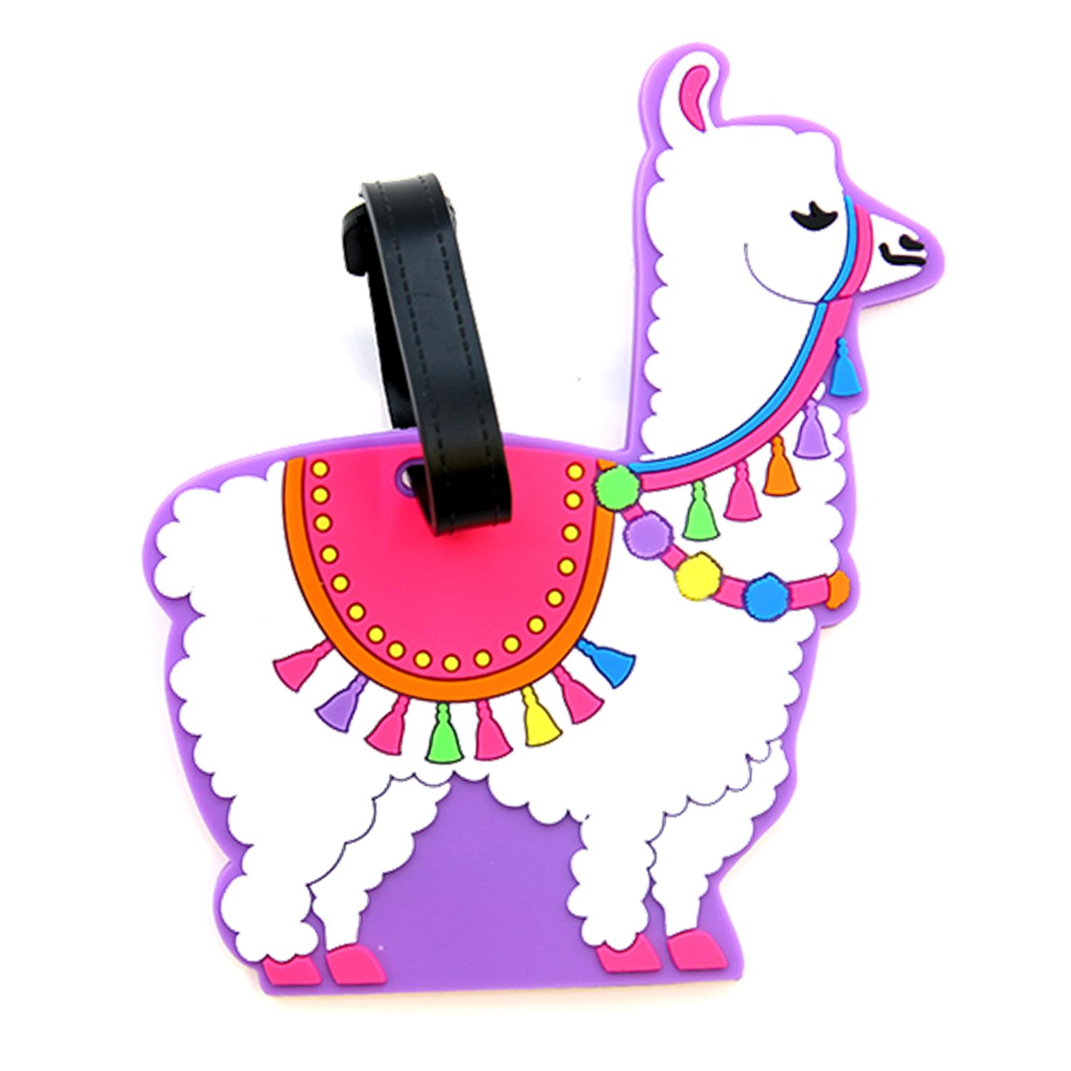 Graphic Llama with Colorful Tassels Luggage Tag