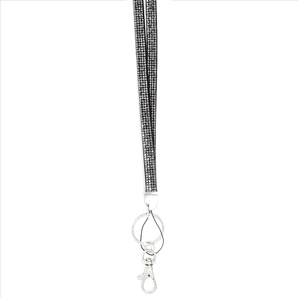 Bling Crystals on Felt Lanyard - Dark Grey