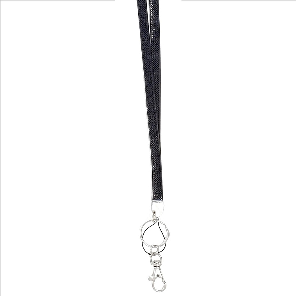 Bling Crystals on Felt Lanyard - Black