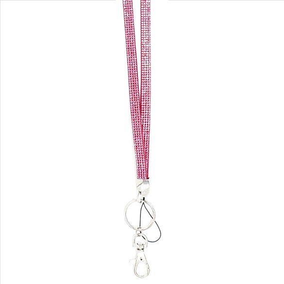 Bling Crystals on Felt Lanyard - Pink