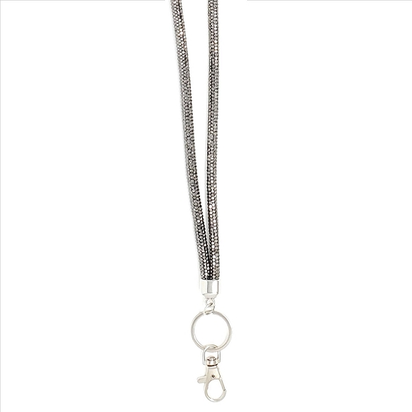 Round Bling Crystal Lanyard - Grey
